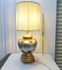 Large Vintage 1920s Hollywood Regency Reverse Painted Double Light Table Lamp