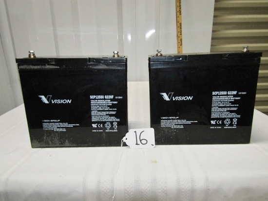Pair Of 12 Volt 55 A H Batteries By Vision
