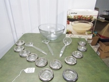 Anchor Glass Punch / Salad Serving Bowl, Punch Ladle, Salad Utensils And