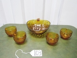 New Tiara Exclusive Set Of 4 Amber Punch Cups & A Amber Serving Bowl