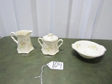 Vtg Crooksville China Creamer, Sugar Bowl And A Small Double Handle Bowl