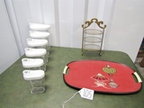 6 Piece Hard Plastic Canister Set; Gold Tone Rack And A Beautiful Vtg Tray