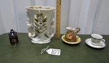 Porcelain Lot: Limoges Lidded Jar; Large Ornate Vase, Mini Bowl And Pitcher