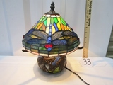 Vtg Mosaic Stained Glass Table Lamp W/ Bronze Butterflies