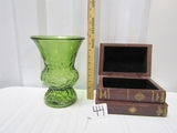 Vtg Mid Century Green Glass Vase & A Stash Box That Looks Like 3 Books