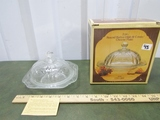 Vtg N I B Recollection Round Etched Crystal Glass Butter Dish W/ Dome