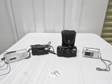 3 Good Cameras And A Memorex Microcassette Recorder W/ Earphone