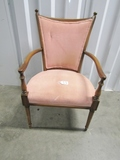 Vtg Solid Cherry Wood Upholstered Accent Chair  (LOCAL PICK UP ONLY)