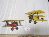 2 Vtg 1975 Cast Metal Homco Red Baron Wall Hanging Biplanes