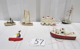 Lot Of 6 Vtg Hand Made Wooden Boat Ornaments