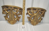 Matching Pair Of Nice Fleur De Lis Wall Shelves