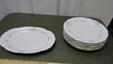 Vintage Wawel China Made In Poland: Oval Platter & 6 Dinner Plates
