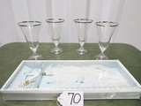 Set Of 4 Crystal Stemware Trimmed In Silver And A Bride's Guest Register Pen