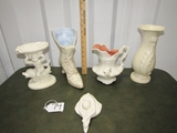 Home D'cor Lot: Pedestal Soap Dish, Ceramic Mold Victorian Boot,