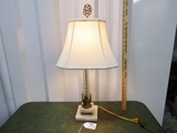 Vtg Crystal And Brass Table Lamp On A Marble Base