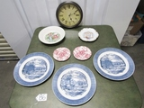 Lot Of Very Nice Collectible Porcelain Plates And A Working Quartz Wall