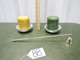 2 Silver Tone Metal Pillar Candle Holders, 2 Pillar Candles And A Matching