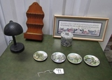 Home D'cor Lot: Goose Neck Desk Lamp, Spoon Display, Framed Picture,