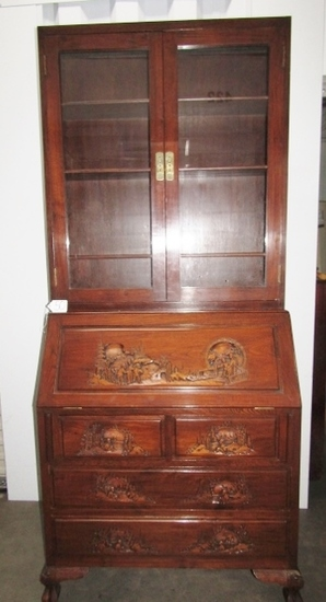 Vtg Hand Carved Solid Fruitwood Secretary Desk ( Local Pick Up Only )