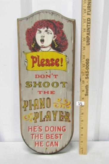 Don't Shoot The Piano Player Vtg Wood Sign