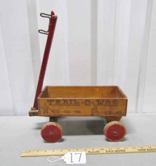 Vtg 1920s All Wood Trail - O - Wag Toy Wagon By Mengel Playthings
