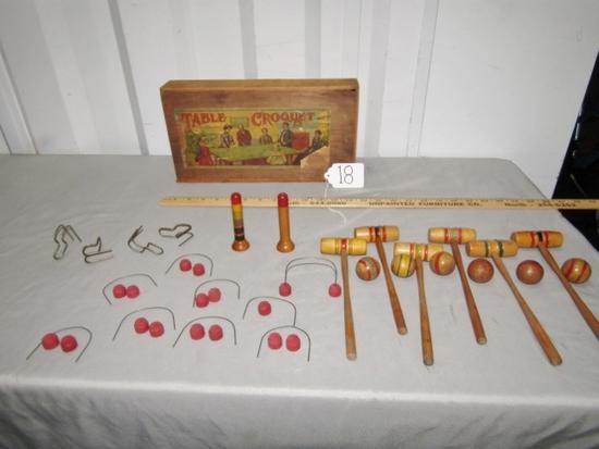 Antique Victorian Era Table Croquet Game