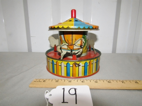 Vtg Tin Litho Wind Up Lever Toy Merry Go Round
