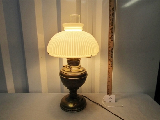 Rare Antique The New Juno No. 2 Oil Lamp Converted To Electric