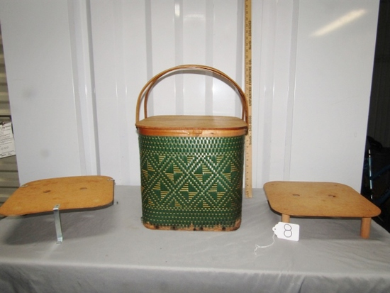 "Vtg Burlington Basket Company "" Hawkeye Picnic Basket W. Small Table"