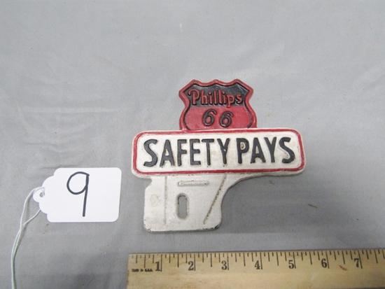 Vtg Cast Iron Phillips 66 License Plate Topper