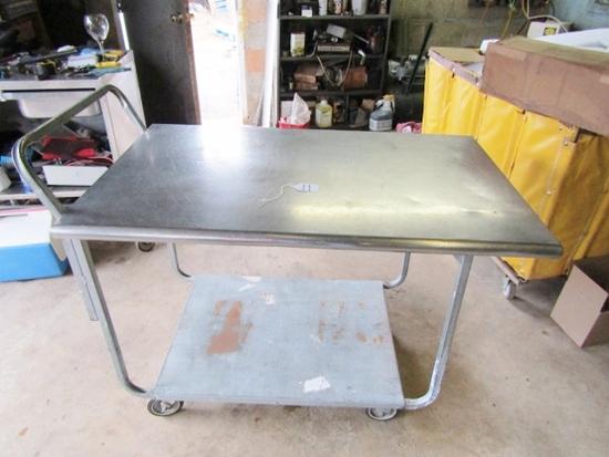 Nice Rolling Steel Table W/ Stainless Steel Top