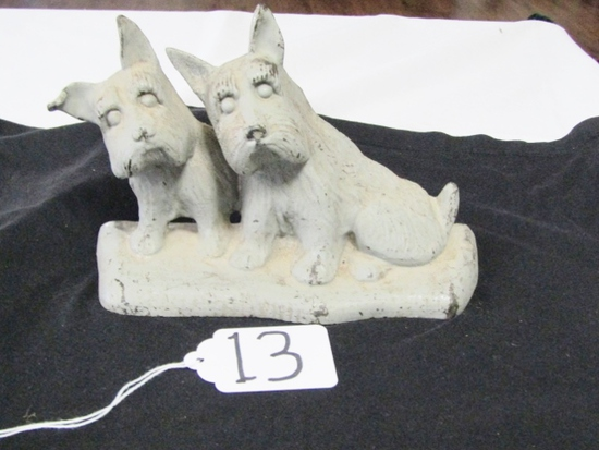 Vtg Cast Iron Scottish Terriers Door Stop