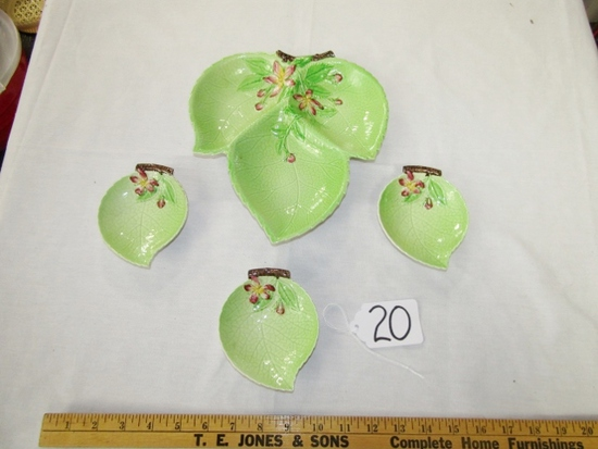 Carlton Ware Condiment Divided Leaf Dish W/ 3 Matching Leaf Dishes