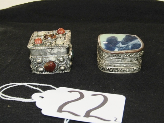 2 Vtg Silver Plated Pill Boxes