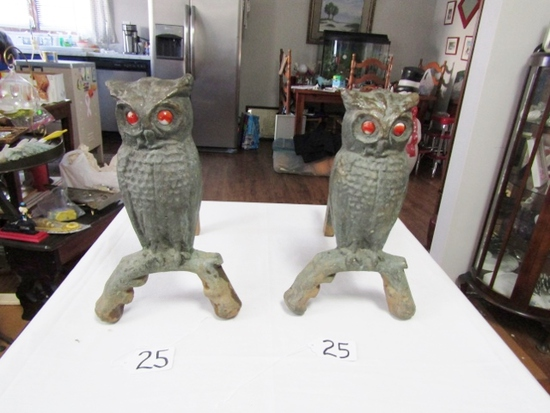 Antique Andirons Featuring Owls W/ Red / Orange Glass Eyes