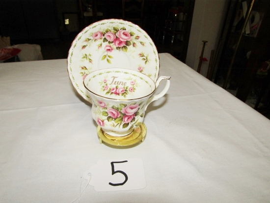 Royal Albert Bone China Flower Of The Month Cup, Saucer And Stand
