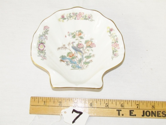 Vtg Wedgwood Kutani Crane Fine Bone China Scallop Shell Dish