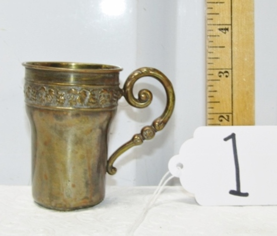 Antique Swedish Brass Birth Day Cup Reading: Bjorn 4-1-20