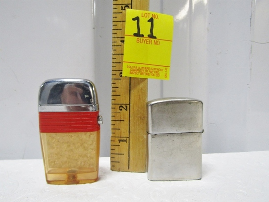 Vtg Scripto Vu - Lighter W/ Gold Flake And A Vtg Blue Shield Zippo Style Lighter