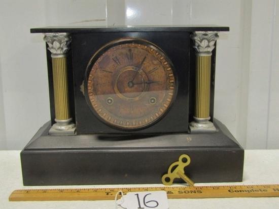 Antique 1880s-90s Ansonia Cast Metal Mantle Clock