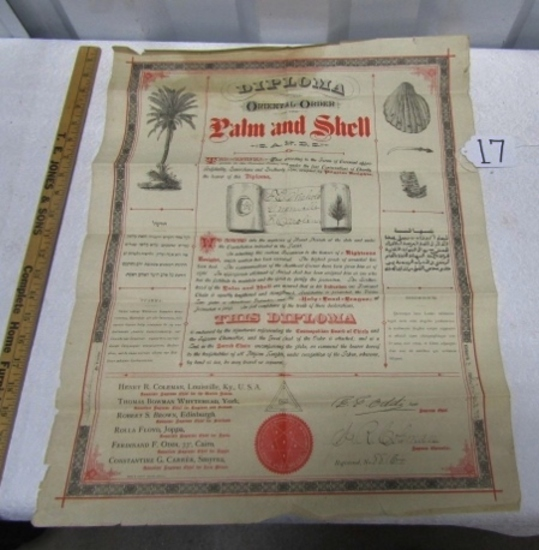Rare 1893 Masonic Oriental Order Of The Palm And Shell Diploma