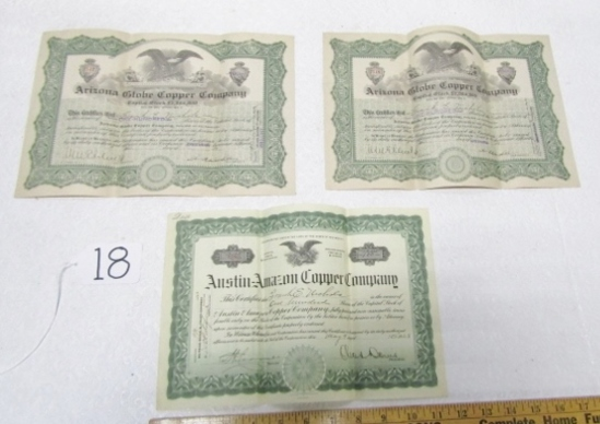 Three 1923 Stock Certificates