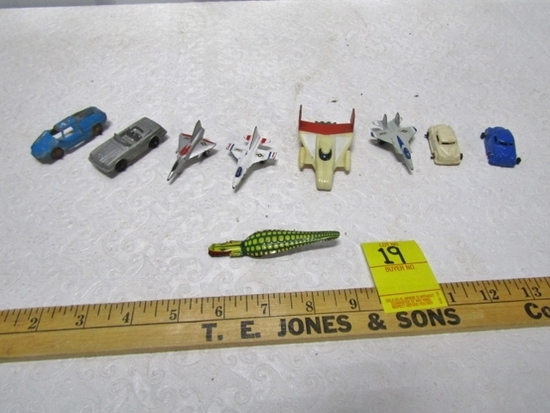 Lot Of Vtg Cast Metal Cars And Airplanes And A Alligator Clicker Toy