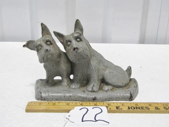 Vtg Cast Iron Scottish Terriers Door Stop