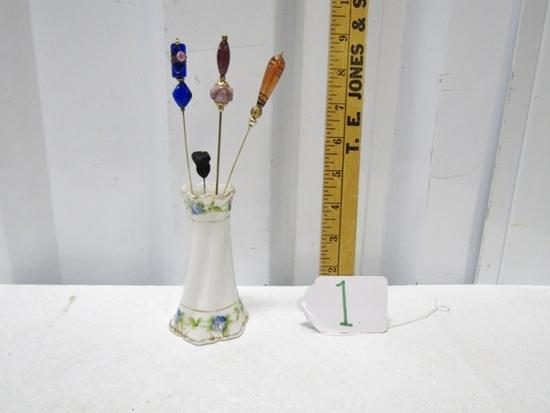 Vtg Porcelain Hat Pin Case W/ 4 Hat Pins