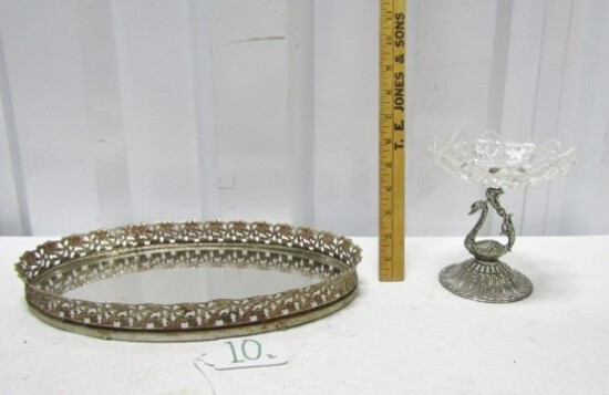 Vtg Brass Vanity Mirrored Tray And A Silver Plated Pedestal Trinket Dish