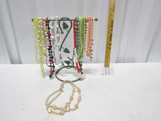 Wrought Airon Necklace Stand W/ 10 Necklaces