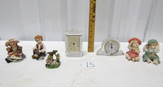 2 Crystal Quartz Clocks And Figurines