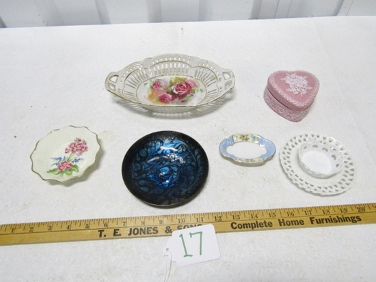 Lot Of Porcelain And A Signed Enameled Dish
