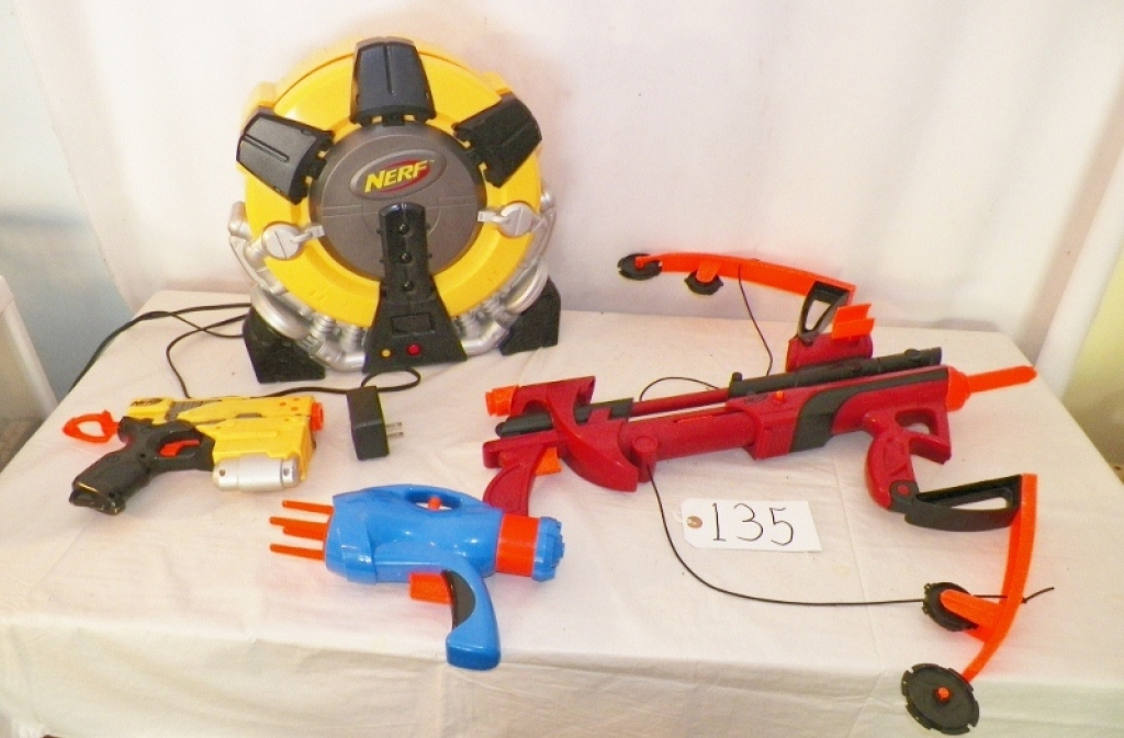 Nerf Crossbow, 2 Hand Nerf Guns & Nerf Automatic Target Disc Machine